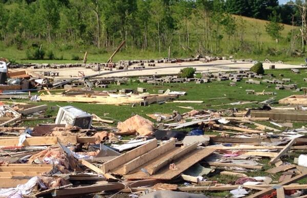 Damage from Tuesday's thunderstorm in Smithfield in Madison County where four people were killed