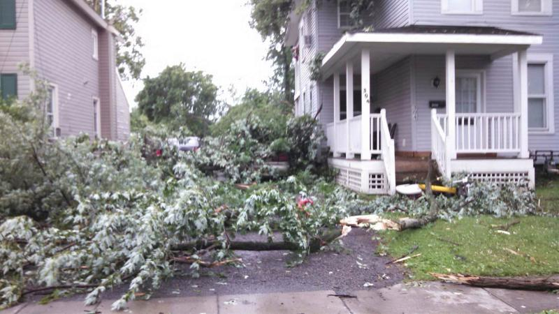 Storm damage along Ellis St in East Syracuse