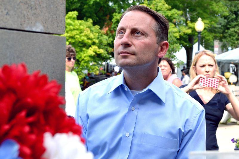 Republican gubernatorial candidate Rob Astorino visits the New York State Fair in Syracuse Thursday.