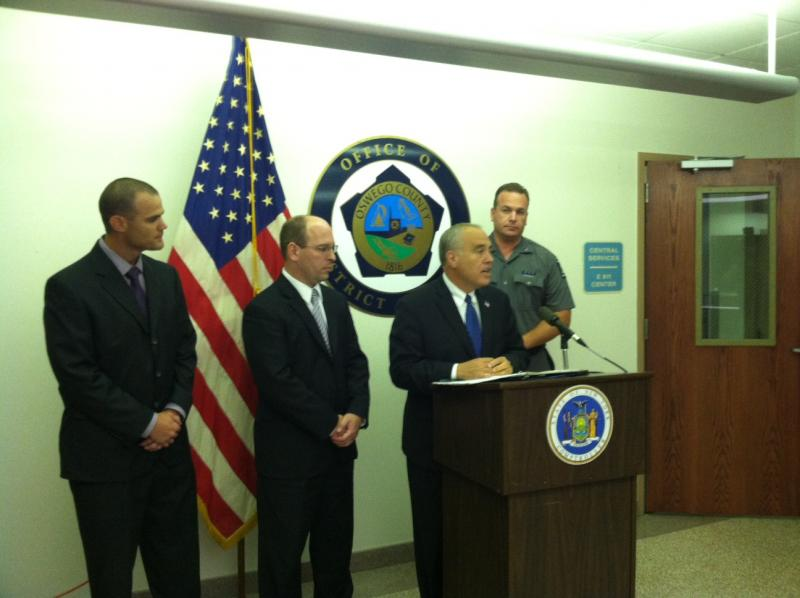 State Comptroller Tom DiNapoli talks about Margaret Bailey's theft and sentencing during a visit to Oswego County.