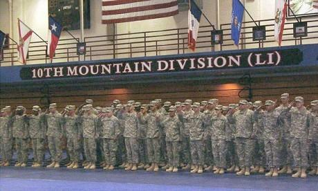Soldiers participate in a homecoming ceremony at Fort Drum. (file photo)