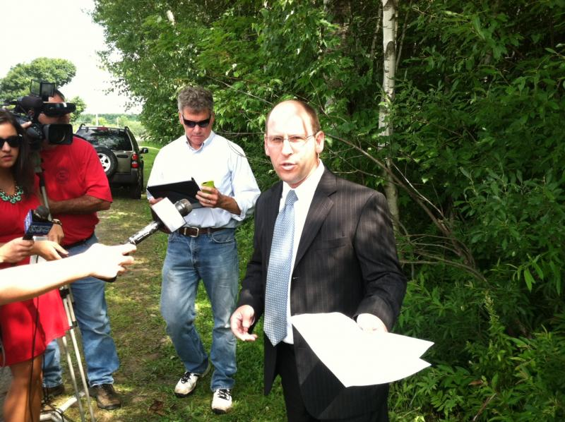 Oswego County District Attorney Greg Oakes briefs reporters after ending the search for the remains of Heidi Allen in the town of Mexico