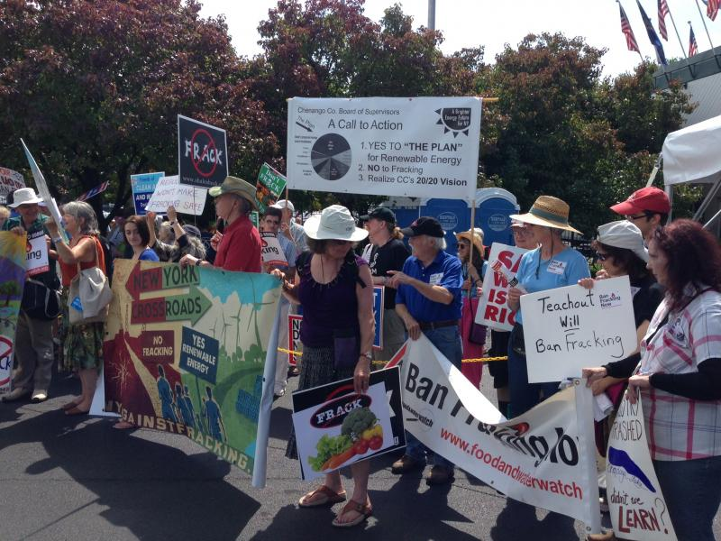 Hydrofracking protesters rally against the controversial natural gas drilling process at the New York State Fair.