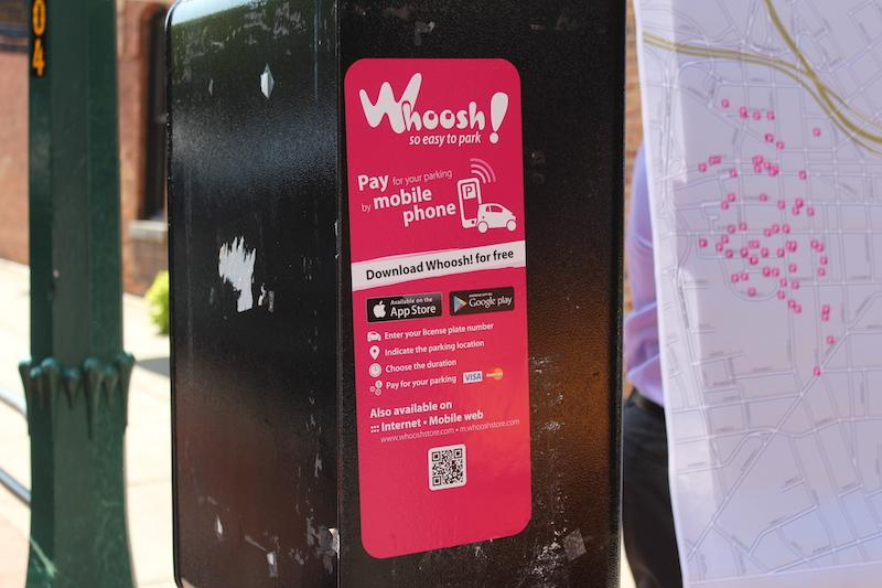 New Whoosh signs on the electronic parking meters.