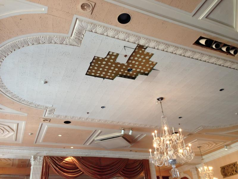 Parts of the ceiling have seen signs of damage.