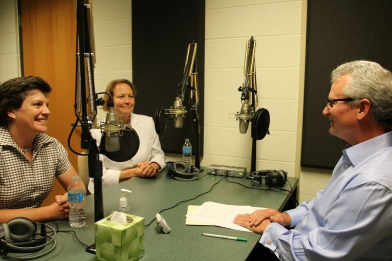 Syracuse Mayor Stephanie Miner, left, and Onondaga County Executive Joanie Mahoney, center, speak with Campbell Conversations host Grant Reeher