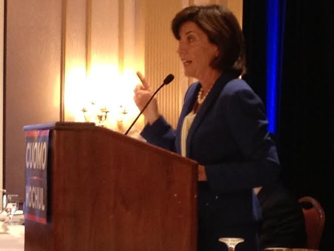 Kathy Hochul, the Democratic candidate for lieutenant governor, speaks at the fall meeting of the New York State Democratic Committee.