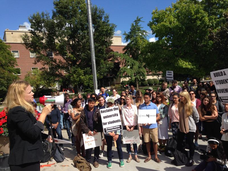 Students and faculty at SU protested the closure of the college's sexual assault advocacy center.