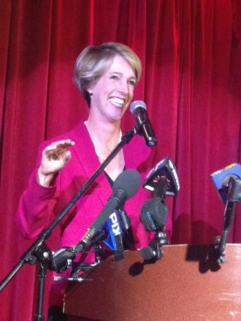 Zephyr Teachout addressing supporters at Hudson Terrace in Hell's Kitchen Manhattan