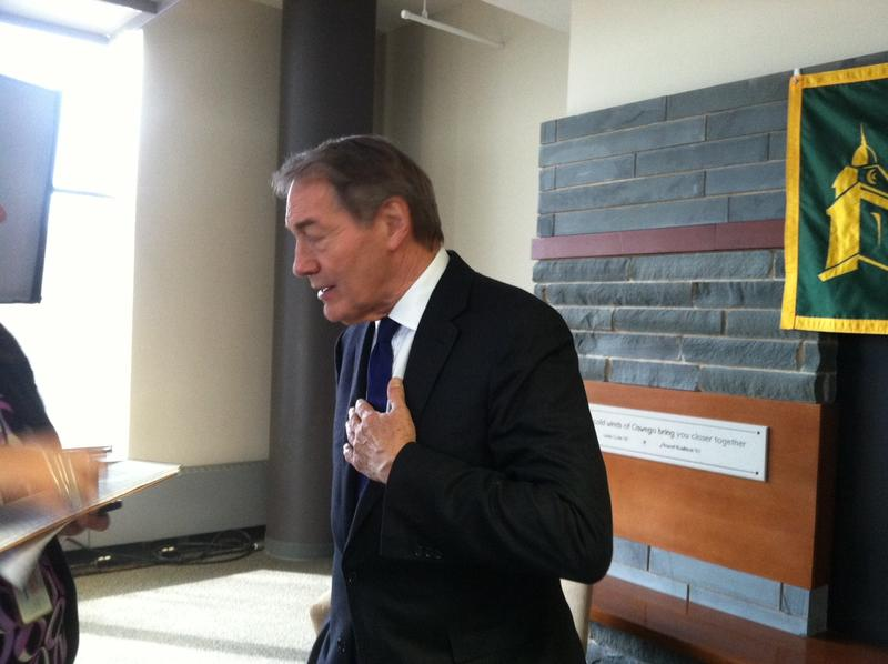 Charlie Rose appeared at SUNY Oswego in 2014 for the college's annual media summit.