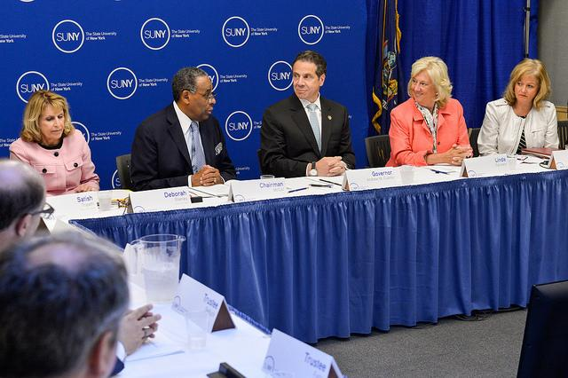 Gov. Andrew Cuomo (center) introduces his multi-pronged sexual assault program to the SUNY Board of Trustees. The policy must be put into action at each of the state's 64 college campuses within 60 days.