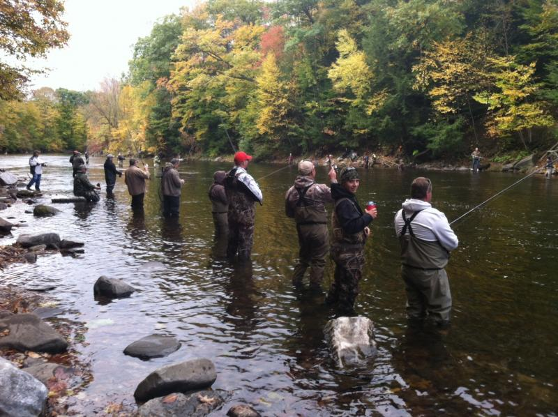 Anglers stand an arms distance apart