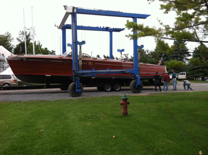 "The ""Pardon Me"" sits on a trailer ready to be stored for the winter after its last ride on the St. Lawrence River."