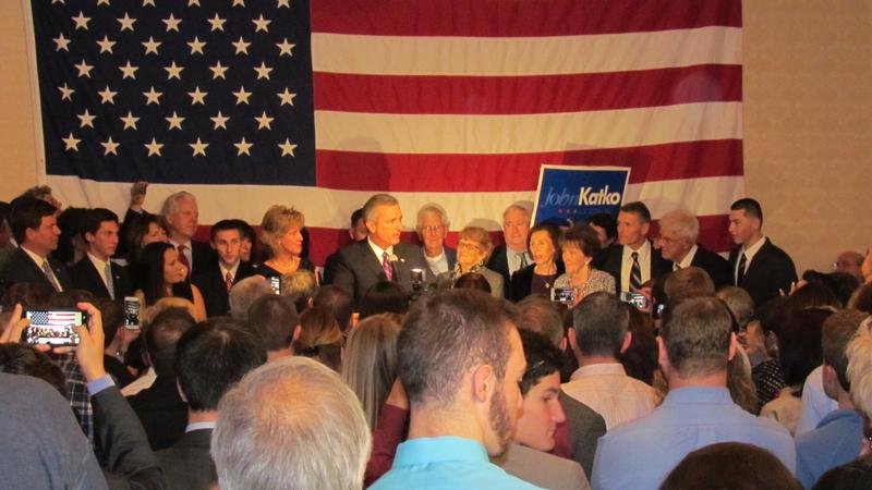 Republican John Katko declares victory Tuesday night in his race against Rep. Dan Maffei