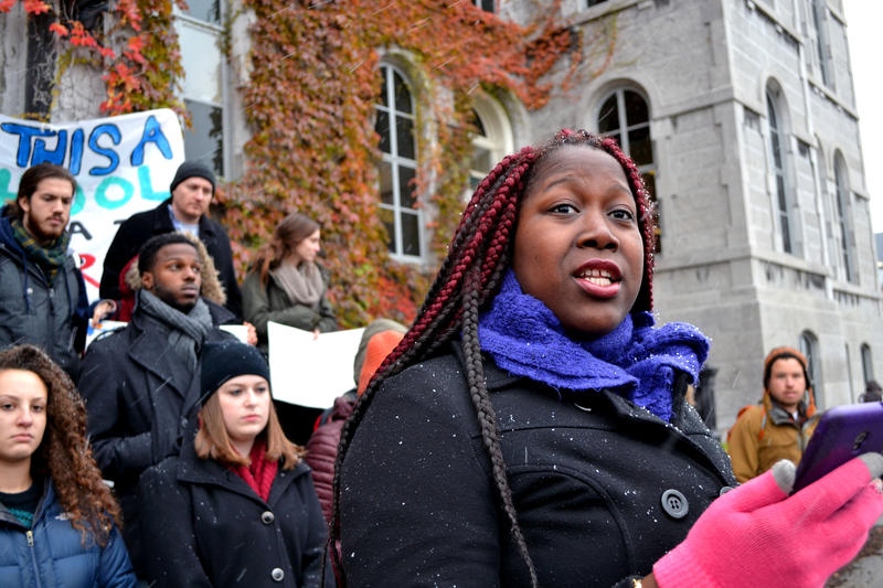 Danielle Reed, a junior and member of the student protest group THE General Body, reads from a letter her mother wrote to chancellor Kent Syverud.