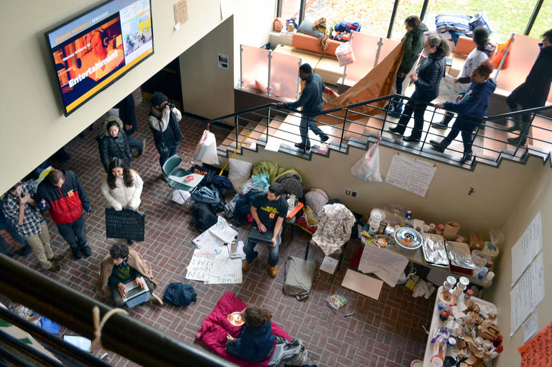 Students have been occupying Crouse-Hinds Hall on the Syracuse University campus since Nov. 3.