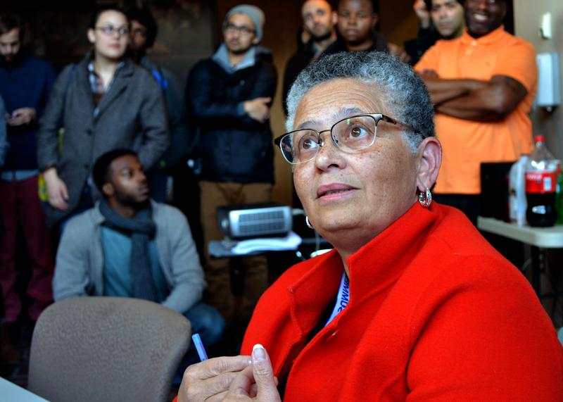 Bea Gonzalez, a dean at Syracuse University, met with student protesters Thusday before the sit-in ended.