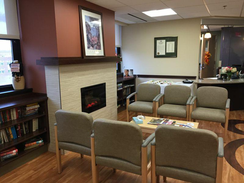 The waiting room of the Women Veterans Wellness Center at the Syracuse VA hospital.