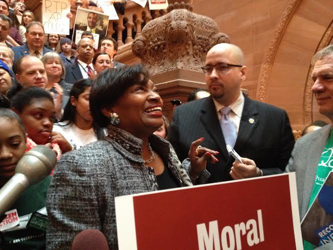 New York state Senate Democratic Leader Andrea Stewart-Cousins at the rally on Monday in Albany.