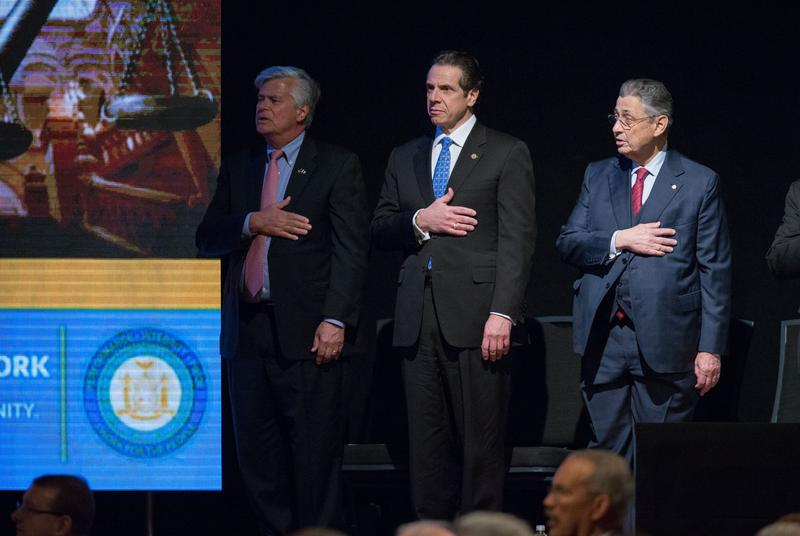 Dean Skelos and Sheldon Silver with Gov. Andrew Cuomo during the State of the State Address in January 2015.