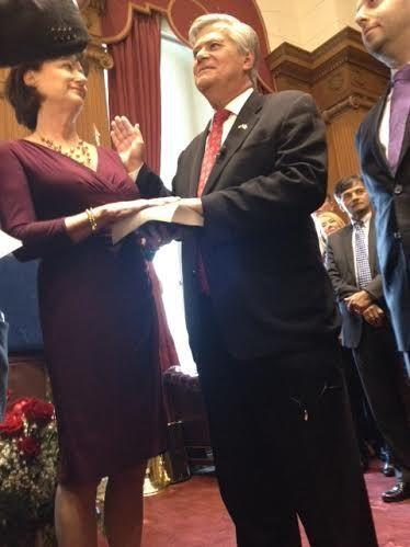Senate GOP Leader Dean Skelos being sworn in. Skelos is now Senate majority leader