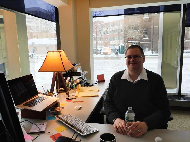 Dave Bulger, founder of tuzag, in his Tech Garden II office.