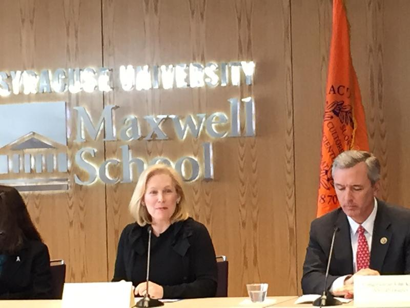 Sen. Kirsten Gillibrand (D-NY) and Rep. John Katko (R-Camillus) participate in a roundtable on sexual assault on college campuses.