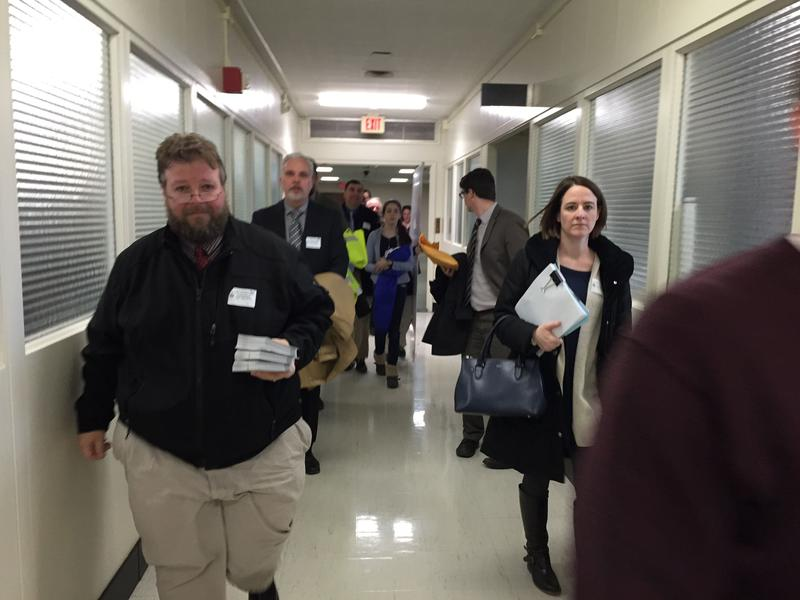 Auburn teacher John Ferrara and other teachers deliver letters to lawmakers criticizing Cuomo's education reform policies.