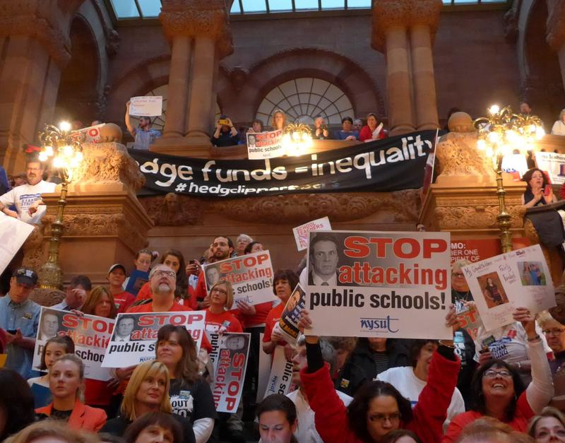 Teachers rallied against Gov. Andrew Cuomo's education reform proposals at the Capitol earlier this month.