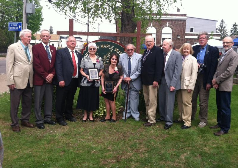Members of the Maple Hall of Fame in front of the American Maple Museum in Croghan, NY