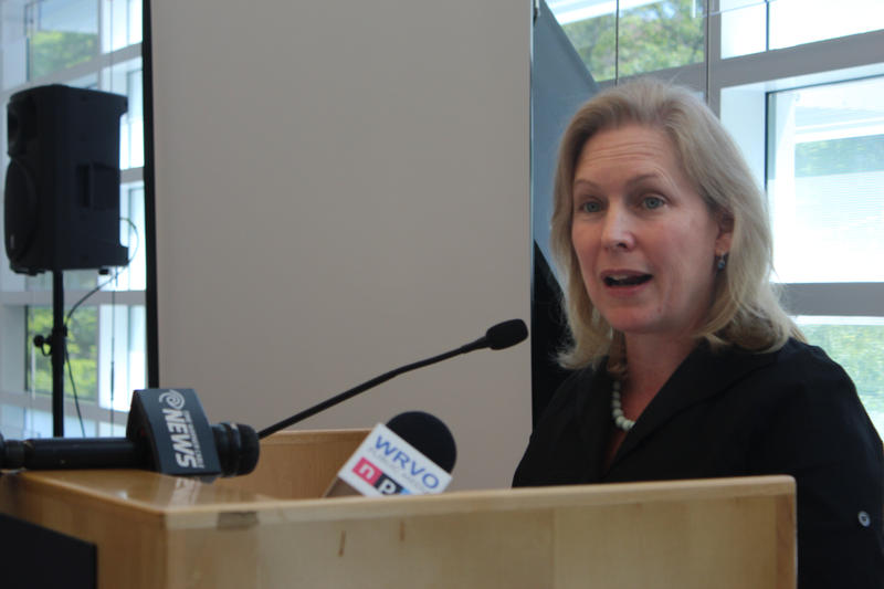 Sen. Kirsten Gillibrand (D-NY) speaking at a conference on the food processing industry at Onondaga Community College.