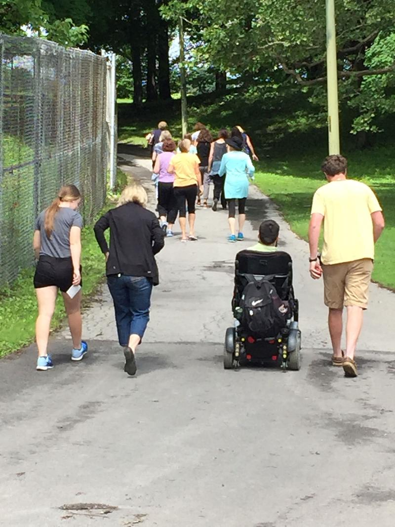 Walkers on the new trail around Sunnycrest Golf Course on Syracuse's northside