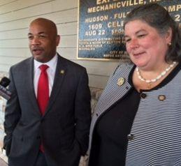 Assembly Speaker Carl Heastie with Asemblywoman Carrie Woerner, speaking to reporters after touring Hudson River boat launch in Mechanicville.