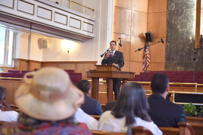 Gov. Andrew Cuomo spoke about raising the minimum wage at the Mount Neboh Baptist Church in Harlem Sunday.