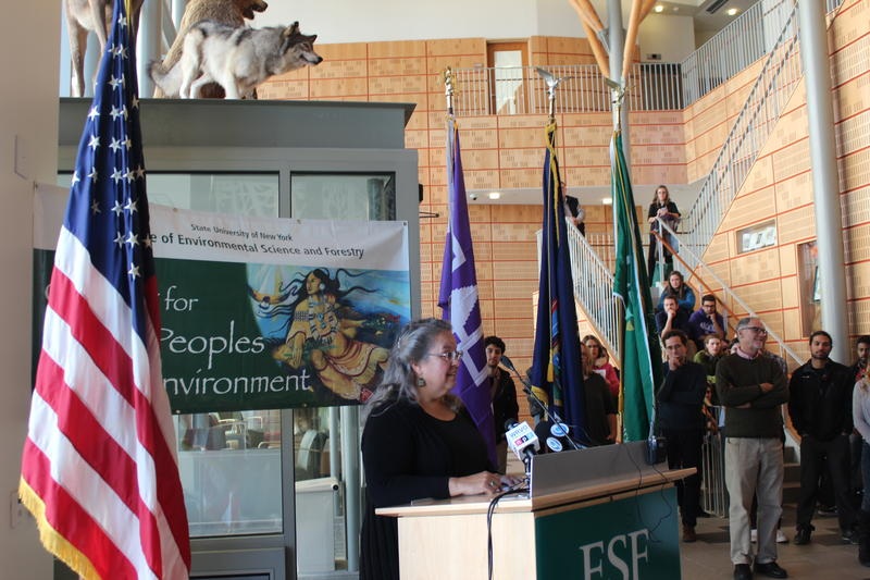 Robin Kimmerer speaks to the crowd at SUNY-ESF. She is the director of the college's Center for Native Peoples and the Environment.