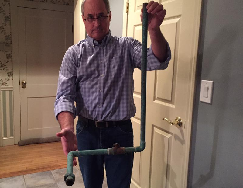 Several pipes in the home of Jefferson County Legislator Phil Reed have corroded and turned green because of salt in his tap water.