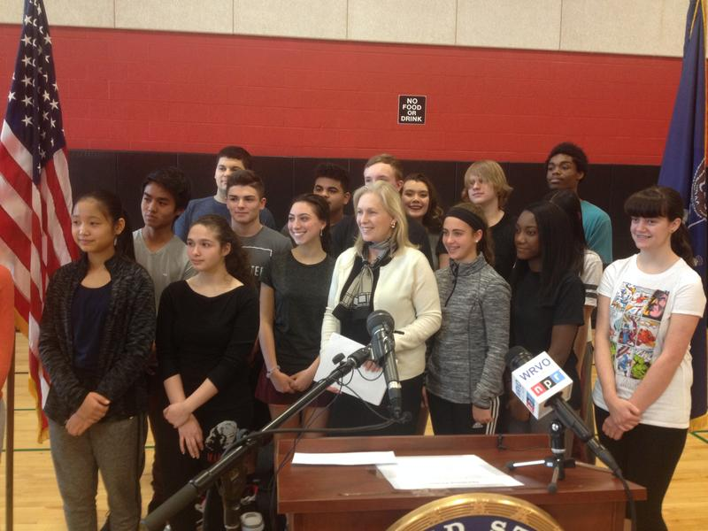 Sen. Kirsten Gillibrand (D-NY) with Proctor High School students in Utica.