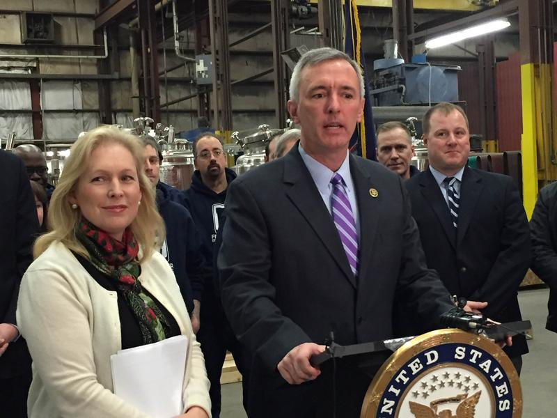 Sen. Kirsten Gillibrand (D-NY) and Rep. John Katko (R-Camillus) at Feldmeier Equipment in Syracuse in 2016, pushing legislation to help create more manufacturing jobs.