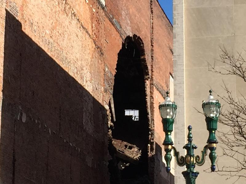The partial collpase of a building on South Salina St. in Syracuse resulted in a large hole in the side of the building. The city later demolished the building