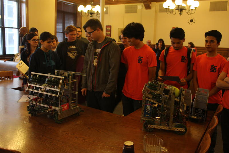 Syracuse students display their robots at the Common Council Chambers.