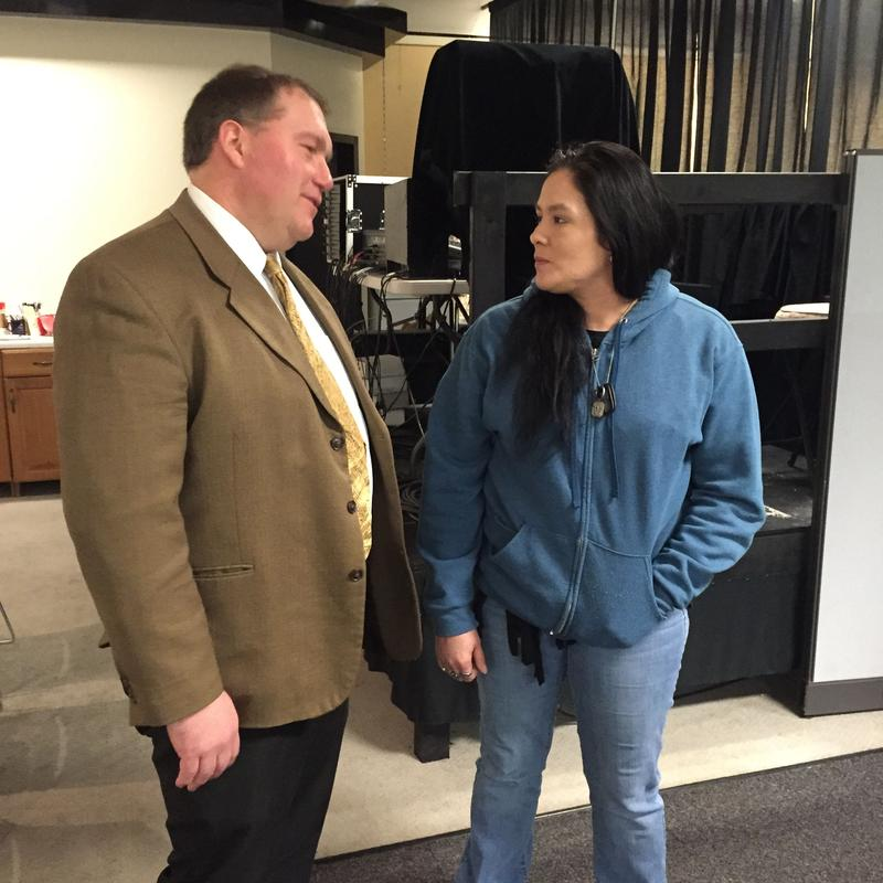 Former opioid and heroin addict Melissa Ives thanks Michael Batstone, an investigator with the Oswego County Drug Task Force, for helping her on the road to recovery. Ives said Batstone had arrested her on multiple occasions for drug possession.