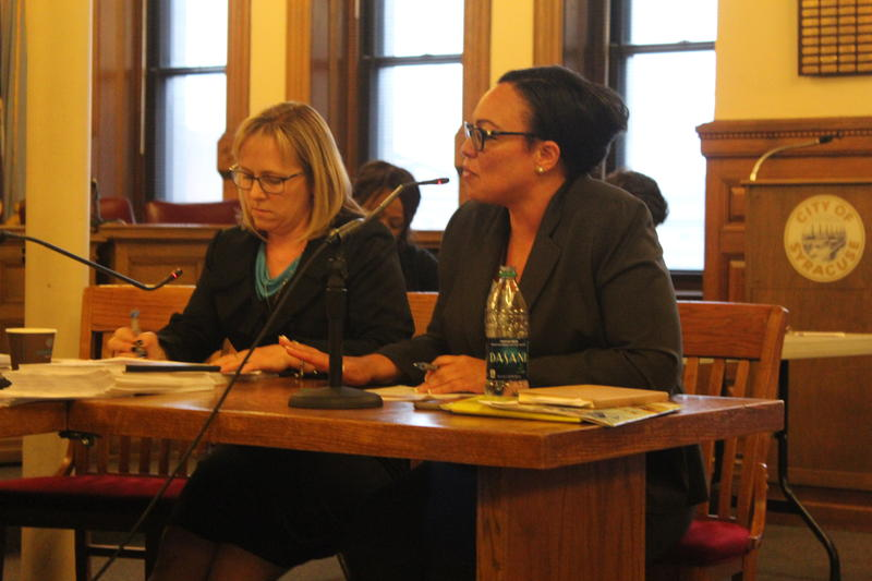 Superintendent Sharon Contreras at a budget hearing at Syracuse City Hall.