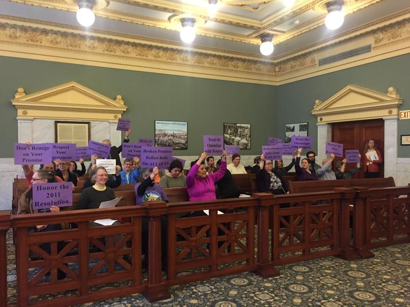 Onondaga Nation supporters protesting the Onondaga County Legislature going back on its promise to turn over Murphy's Island to the nation.