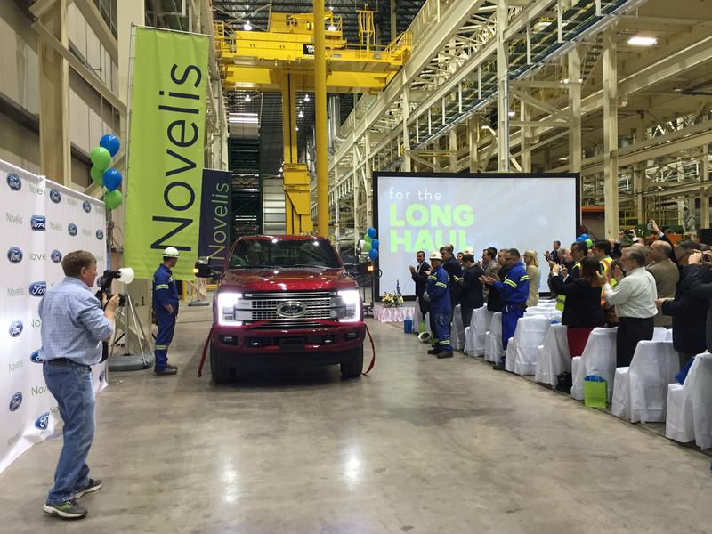 Novelis employees debut Ford's new Super Duty truck, which was built with aluminum produced at the Novelis manufacturing plant in Oswego County.