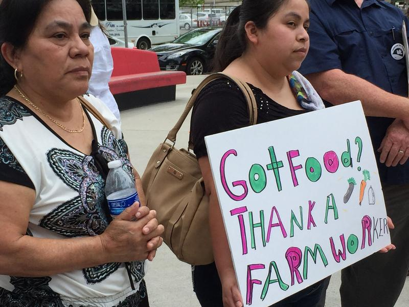 Farmworker rights advocates rallied in Syracuse Thursday.