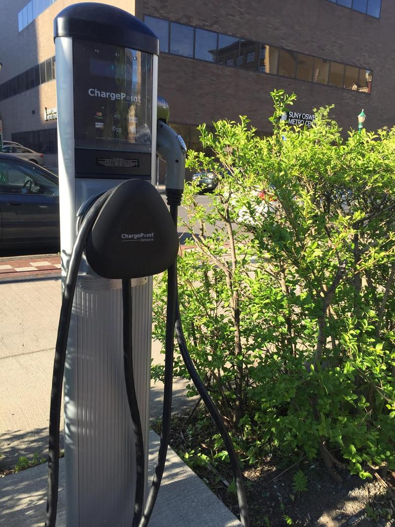 A charging station for electric vehicles in downtown Syracuse