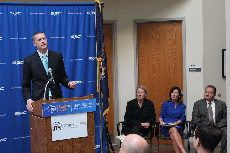 From left to right: CenterState CEO President Rob Simpson, Onondaga County Executive Joanie Mahoney, and Lt. Gov. Kathy Hochul.
