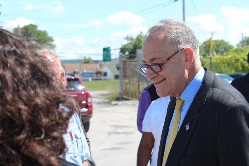 Sen. Charles Schumer on a visit to Syracuse