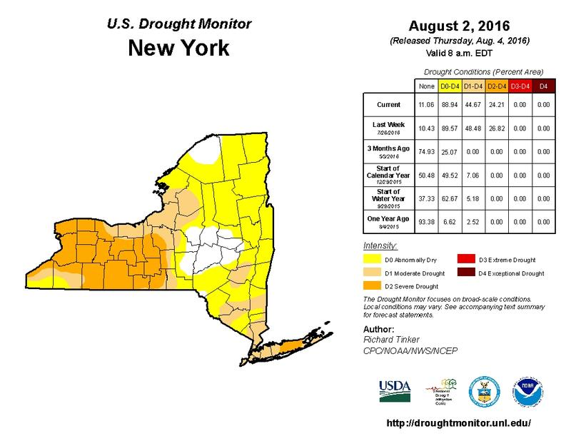 A map of drought conditions in New York State.