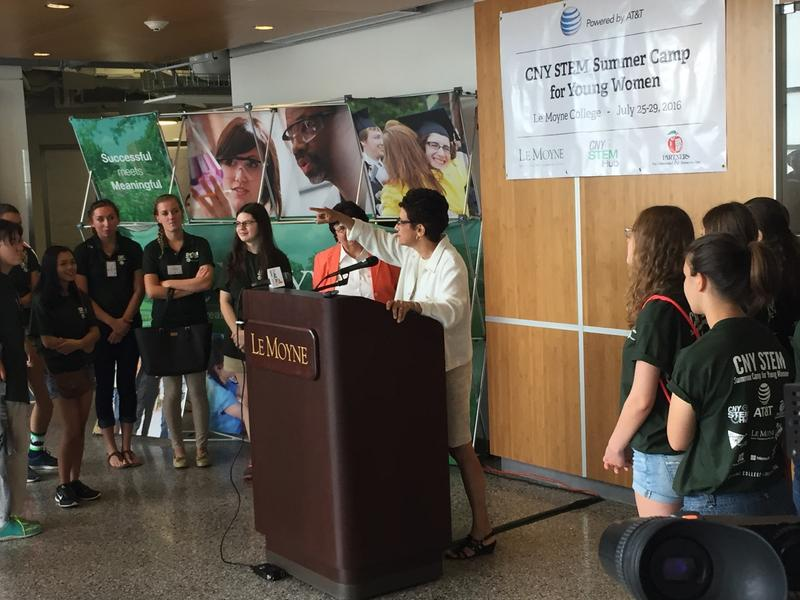 Le Moyne College President Linda Lemura speaks to young women at the CNY STEM Summer Camp for Young Women